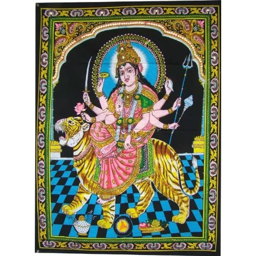 Huge Cotton Fabric Durga Ma Mother Goddess Yoga 43″ X 30″