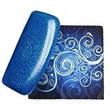 Sapphire Blue Medium Premium Fashion Women's Hard Eyeglasses Case | Smooth Glitter | Bonus Cleaning Cloth