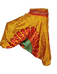 Rajsthani Mandala Hand Block Print Peacock Alibaba Afghani Trouser - B06XT55641