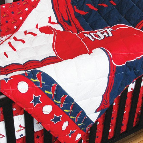Mlb St Louis Cardinals Crib Bedding - 4Pc Baseball Baby Quilt Bed-In-Bag front-951010