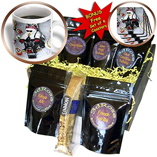 Henrik Lehnerer Designs - Holidays - White snowman sitting on a motorcycle driving on snow. - Coffee Gift Baskets - Coffee Gift Basket (cgb_211625_1)