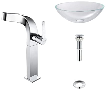 Kraus C-GV-100-12mm-15100CH Crystal Clear Glass Vessel Sink and Typhon Faucet Chrome