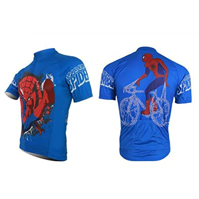 ... red black with spiderman swinging across front spiderman cycling jersey  and bib short kit blue with black sleeves and spiderman name on front b366c084b