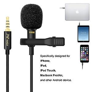 MICRÓFONO DE SOLAPA LAVALIER MEJORADO DE VOZ POP, Micrófono de condensador omnidireccional para iPhone de Apple iPad Teléfonos inteligentes de Android Mac, Youtube, Entrevista, Estudio, Video, Grabación, Micrófono de cancelación de ruido