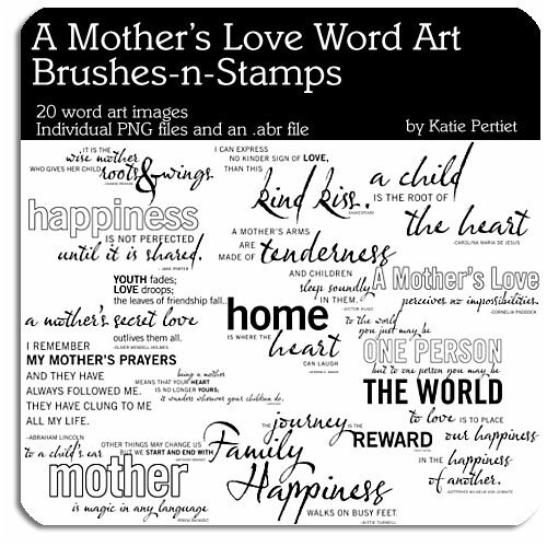 image Photoshop Brushes Mothers Love Word Art MegaPak Brushes