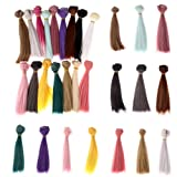 GUCHIS 16PCs/Pack 15×100cm Doll Accessories Straight Synthetic Fiber Wig Hair for Doll Wigs High-Temperature Wire 16 Colors (Color: Colorful, Tamaño: 5.9inch)
