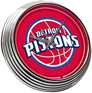 Red Detroit Piston Neon Clock by On The Edge
