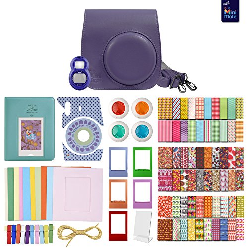 FujiFilm Instax Mini 8 GRAPE MiniMate Accessory Bundle. Kit includes: Case, Frames, 64 page Photo Album, Selfie Lens, Colored Filters and more (Fujitsu Polaroid Film compare prices)