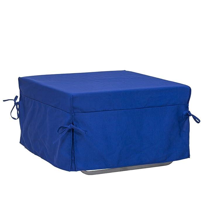 Tuoni Morfeo Pouf Letto, Tessuto in Cotone, Metallo Satinato, 1 Piazza, Blu