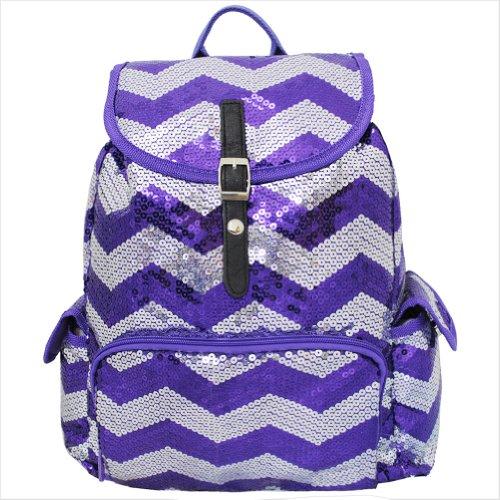 Purple Sequin Chevron Pattern Drawstring Backpack Bookbag
