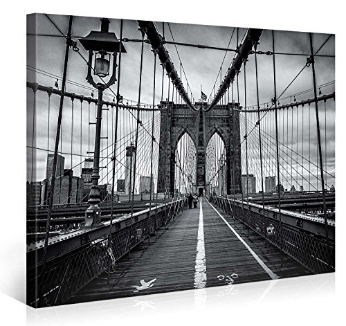 Large Canvas Print Wall Art - BROOKLYN BRIDGE WALK - 40x30 Inch New York Cityscape Canvas Picture Stretched On A Wooden Frame - Giclee Canvas Printing - Hanging Wall Deco Picture / e4262 (New York Brooklyn Bridge Poster compare prices)