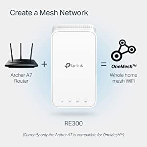 TP-Link | AC1200 WiFi Range Extender | Up to 1200Mbps | WiFi Extender, Repeater, WiFi Signal Booster | One Mesh | Easy Set-Up | Compact Designed Internet Booster (RE300)