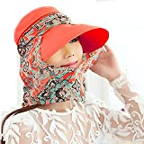 Summer Collapsible sun hat Female hat Baseball cap Women anti UV hat (Orange)