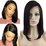 S-noilite Glueless Lace Front Wigs 100% Brazilian Human Hair Short Bob Style Wig for Women Side Part with Baby Hair Pre Plucked (12inch,Natural 1B Black,130% Density) (Color: Bob-Straight-side part, Tamaño: 12inch)