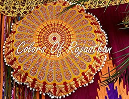 COR\'s Hippie Ombre Mandala Tapestry Round Floor Cushion Cover Roundie Wall Hanging Beach Towel Throw Yoga Mat Round Tapestry 82 CM\'s