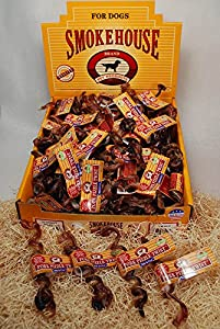 Smokehouse USA Made 6in Twisted Steer Pizzles (w/UPC) Shelf Display Box 50ct