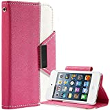 theMobileArea PU Leather Flip Credit Card Wallet Stand Case For iPod 4 4th Generation - Hot Pink