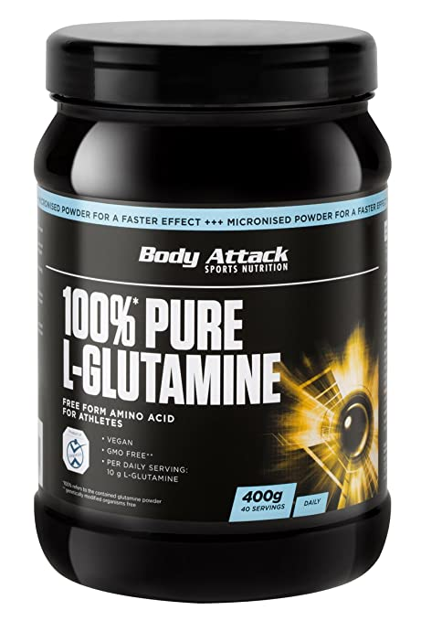 Body Attack 100% Pure L-Glutamine 2 x 400g Dose 2er Pack