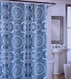 Shower Curtain Fabric Designer Cynthia Rowley 72 X 72 Large Medallions Light Blue on Cream