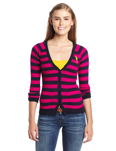 U.S. Polo Assn. Juniors Striped Cardigan, Berry Bug, Medium