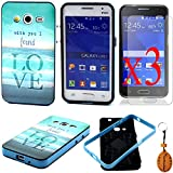 Traitonline Painting Art Style Design Samsung G355H Cover Hybrid Hard Soft Silicone Back Case Fit For Samsung Galaxy Core 2 II G355H Pouch(LOVE)+3*Screen Protector