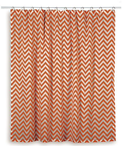 Rizzy Home Chevron Shower Curtain, Orange/White