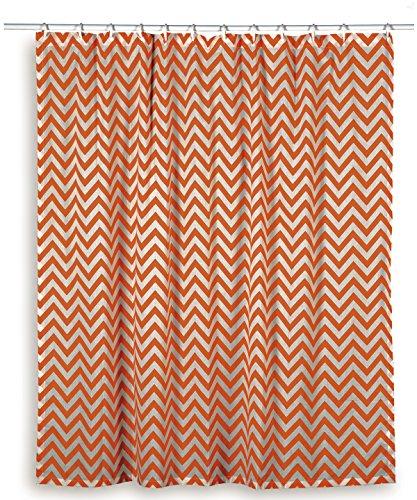 CafePress Chevron Orange Shower Curtain – Standard White Check Price