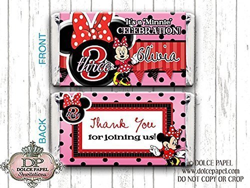 10 Red MINNIE MOUSE Custom Birthday Mini Hershey Candy Bar Wrappers (Minnie Mouse Custom Invitations compare prices)