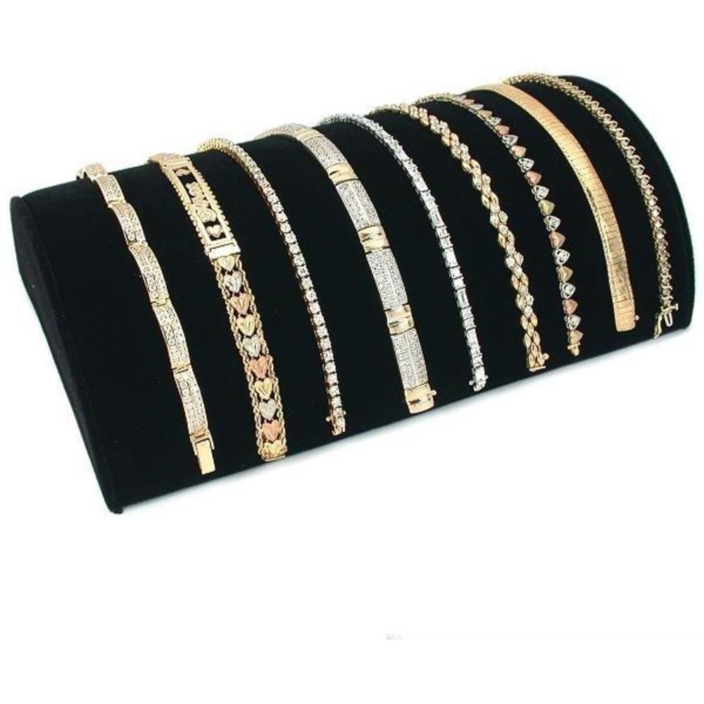 Black Velvet Half Moon Bracelet Showcase Display Stand – Jewelry Trays