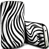 Digi Pig - Colour PU Leather Zebra Pull Tab Pouch Cover Case for HTC Desire C - White Zebra