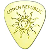 Unique & Custom [0.38mm Thin Gauge - Traditional Style Semi Tip] Hard Luxury Guitar Pick Made of Genuine Solid Brass w/ Conch Republic Tribal Sun Design