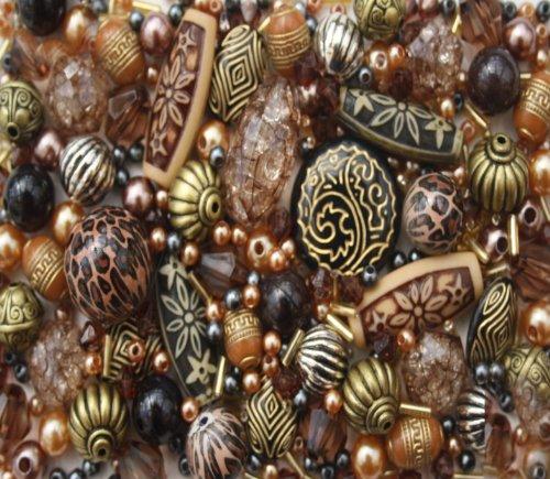 Approx 400 x Tribal Bronze Copper Acrylic Bead Jewellery Making Starter Beads Mix Set