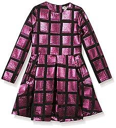 Kenzo Kid's Metallic Check Dress, Fuchsia, 6