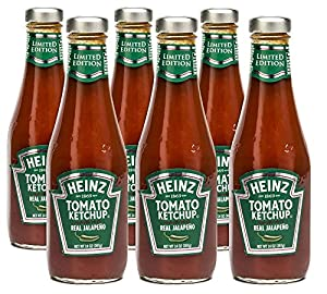 Heinz Tomato Ketchup with Jalapeno, 14 Ounce Bottles (Pack of 6)