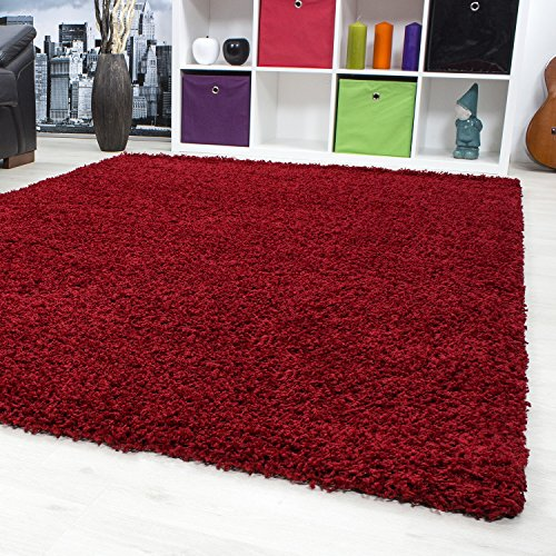 hochflor shaggy teppich wohnzimmer teppich langflor einfarbig teppiche viva 153 farbe rot ma e. Black Bedroom Furniture Sets. Home Design Ideas