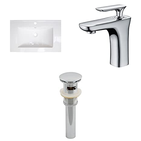 "Jade Bath JB-16681 24"" W x 18"" D Ceramic Top Set with Single Hole CUPC Faucet and Drain, White"