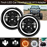 Round Sealed Beam LED Headlight with Halo Ring Turn Signal Lights For Suzuki Samurai SJ410 2X 6012/6014/6015/H6017/H6024 7 Inch 75W H4 H13 High and Low Dual Beam DRL Lamps (Package of 2)