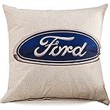 Cotton Linen Blend Cushion Square Decorative Car Throw Pillow Car Series Cover FORD