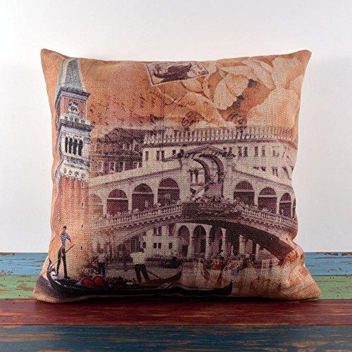 45X45Cm Retro Shabby Chic Venice Tower Bridge Linen Pillow Case Cushion Cover front-485090
