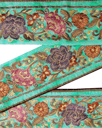indian-vintage-sari-border-brode-garniture-couture-1yd-vert-sarong-ribbon-lace