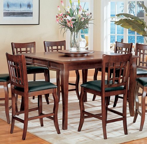 Buy Low Price Coaster Contemporary Cherry Finish Counter Height Dining Table w/Lazy Susan (VF_100508)