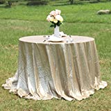AMAZLINEN(TM) Premium Quality Champagne Gold Glitz Sequin Tablecloth For Wedding And Event -120 inch Round