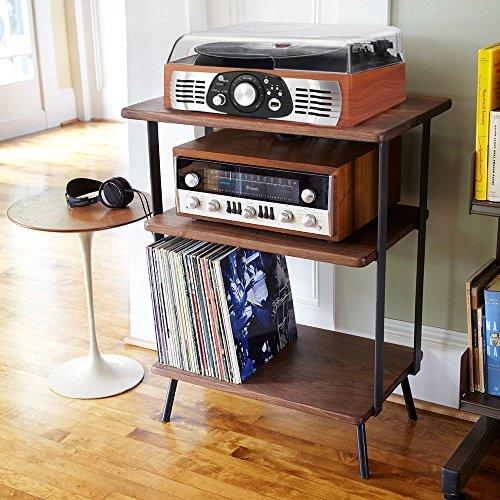 platine vinyle 1byone transportable immitation bois 3 vitesses avec enceintes prise usb pour. Black Bedroom Furniture Sets. Home Design Ideas