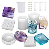 Resin Molds for Daily Necessities,5 Pack Silicone Molds Kit for Casting Epoxy Resin UV Resin,Include Ashtray, Brush Pot,Phone Holder Molds,with Resin Mixing and Measuring Tools (Color: Ashtray,Pen holder and More)