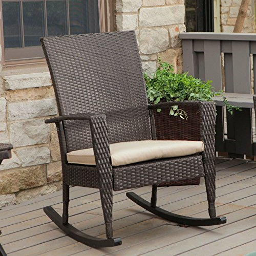 Coral Coast Soho High Back Wicker Rocking Chair With Free Cushion Multicolor - Cw3753R-Dark Brown front-569434