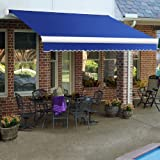 Awntech 10-Feet Key West Full-Cassette Left Motor with Remote Retractable Awning, 96-Inch Projection, Blue