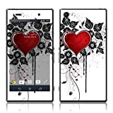 TaylorHe Vinyl Skins for Sony Xperia Z1 Super-slim Protection Perfect Fit Made in Britain Colourful Decal With Patterns Red Love Heart and Vines