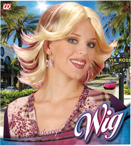 Perücke Sherry blond mit roten Strähnen Picture