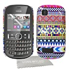 Nokia Asha 200 / 201 Tribal, tribe, retro, vintage, multi-coloured hard case, skin, cover with screen protector & cloth designed exclusively by Love My Case.