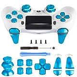 Z&Hveez Metal Buttons for PS4 Controller Gen 2, Metal Aluminum Bullet Buttons & L1 R1 L2 R2 Triggers & D-pad & Thumbsticks Replacement Kit for PS4 Slim/PS4 Pro DualShock 4 Controller (Metal Blue) (Color: Metal Blue)
